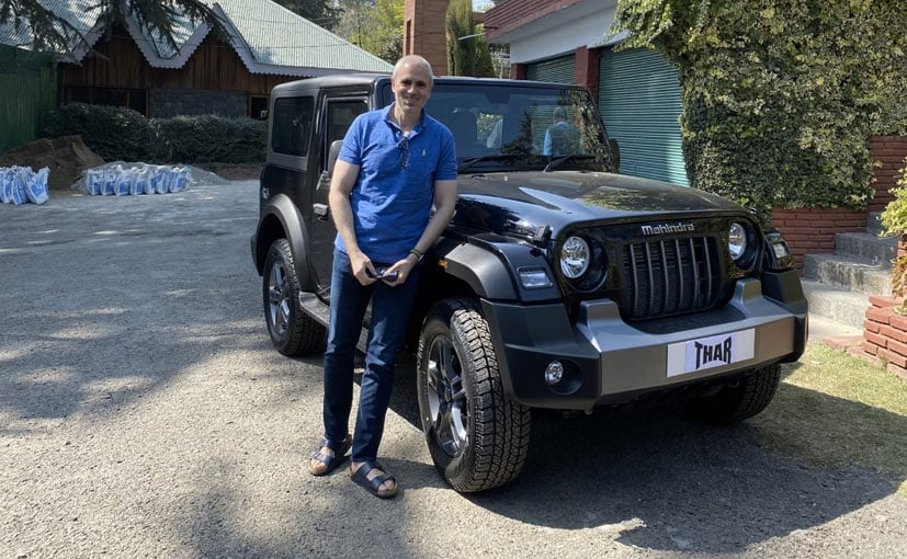 The ex-Chief Minister of Jammu and Kashmir, Omar Abdullah with the new Mahindra Thar