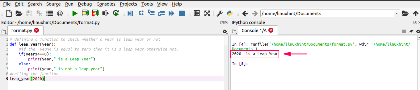Python Functions-Hint for Linux