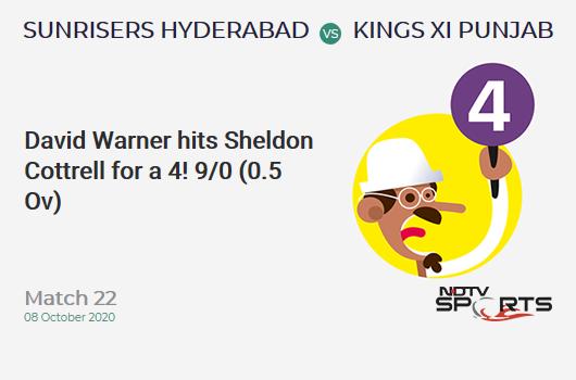 SRH vs KXIP: Match 22: David Warner hits Sheldon Cottrell for a 4! Sunrisers Hyderabad 9/0 (0.5 Ov). CRR: 10.8