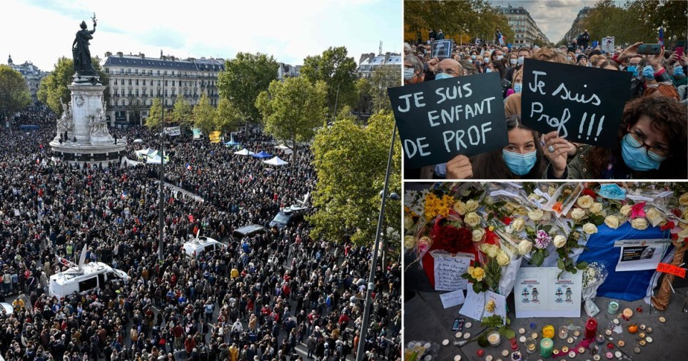 Protestors rallying in France in tribute of a teacher beheaded in a terror attack.
