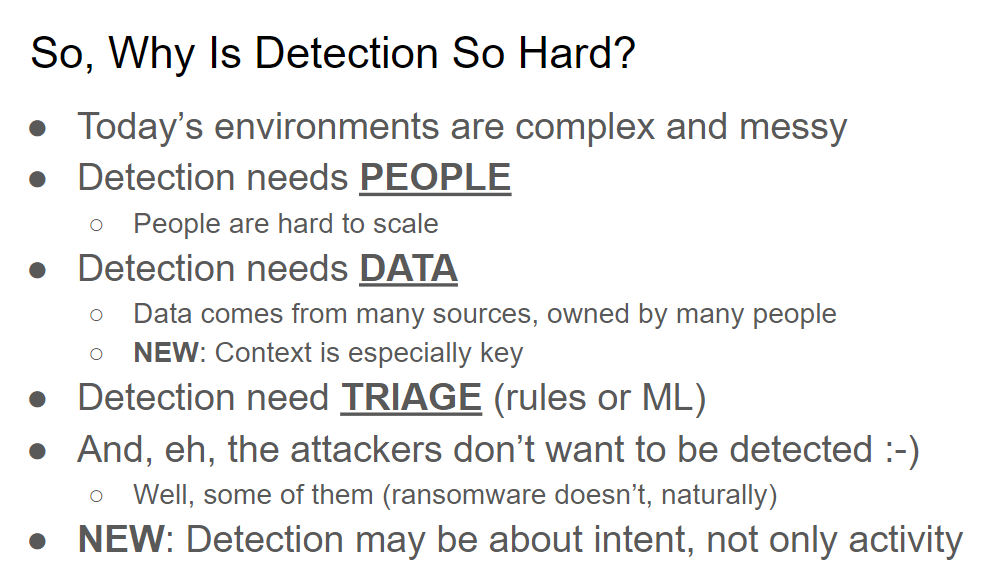 Why is Detection of Threats Hard?