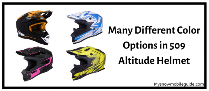 Colour variants of the snowmobile helmet in 509 heights