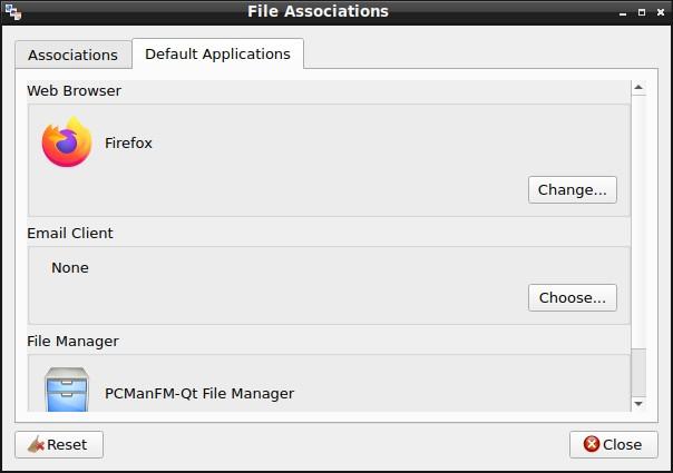 LXQt 0.16.0 -File Associations with default applications