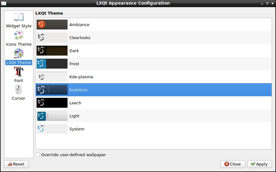LXQt 0.16.0 - Appearance Configuration - new themes