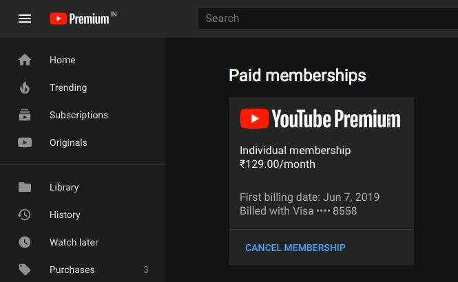 cancel the youtube premium