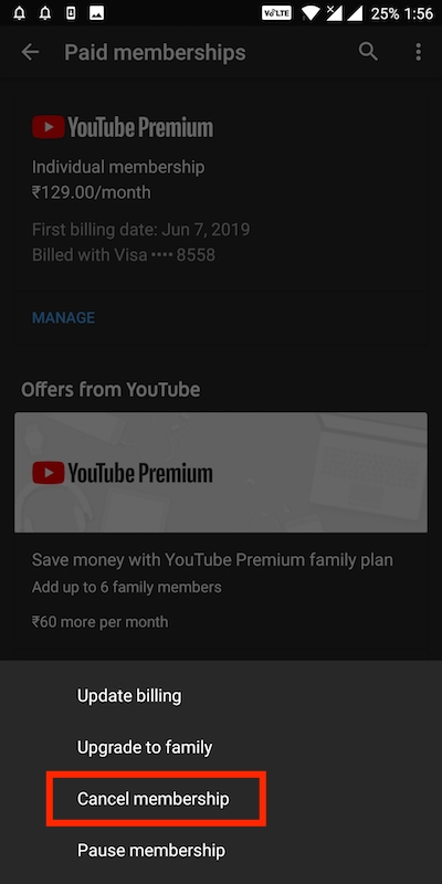 cancel youtube premium subscription on Android