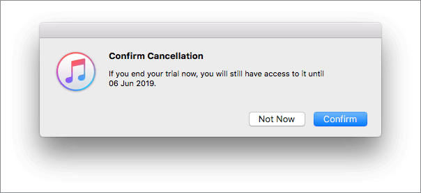 Confirm the cancellation in the itunes application