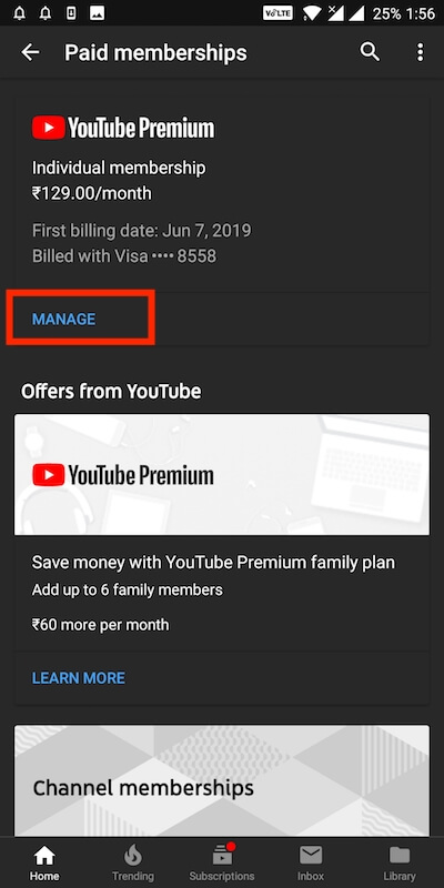 Management of the youtube premium