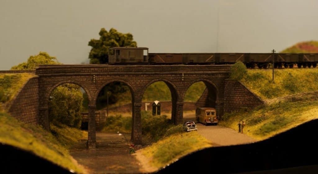 Model of a railway bridge