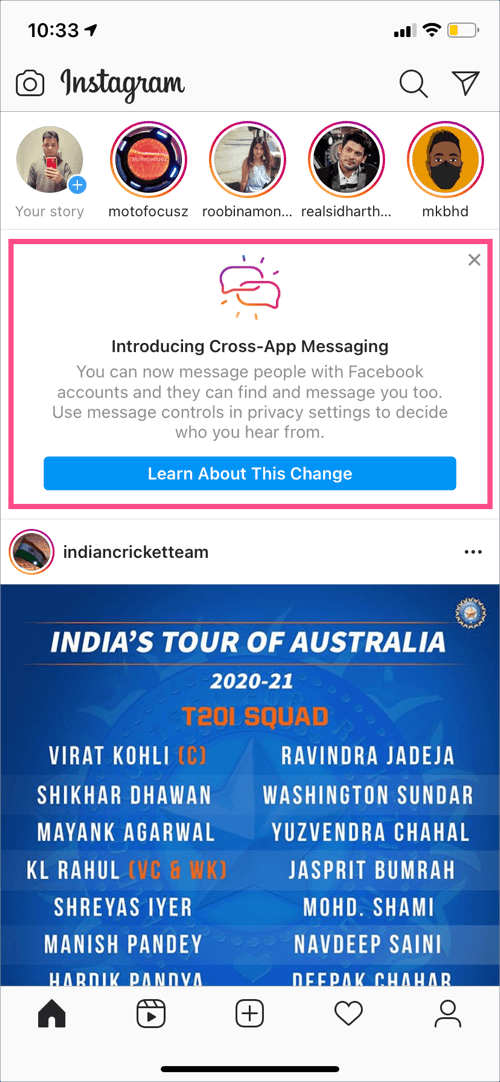 new direct notification of instagram updates