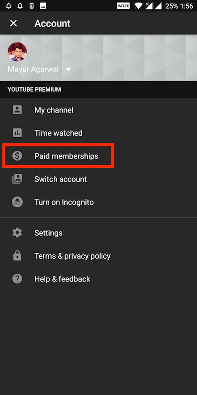 Paid membership on youtube