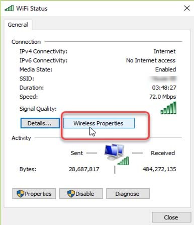 WiFi status in Windows 10