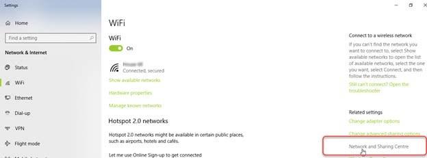 Windows 10 WiFi Settings Screen