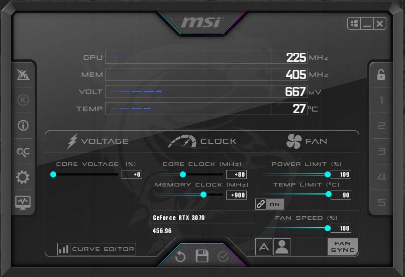 NVIDIA GeForce RTX 3070 FE Overclocking MSI after burning Maximum Overclocking