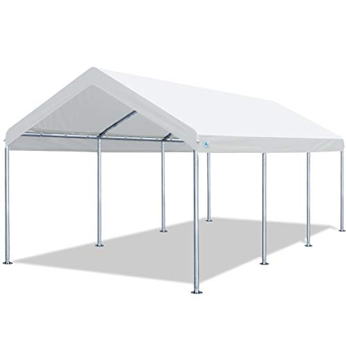 10 x 20 FT Car awning garage awning boat awning side awning, height adjustable from 6.0 feet to 7.5 feet, white