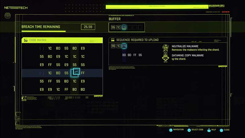 a hacker-military chip in the selection of pickup orders in Cyberpunk 2077