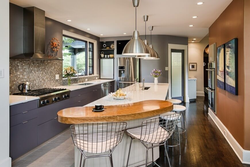 A modern and colourful kitchen with cool looking pot seats