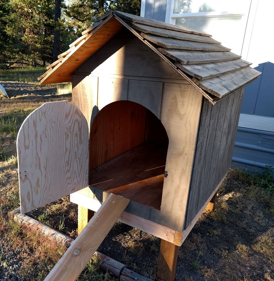 a niche turned into a chicken coop