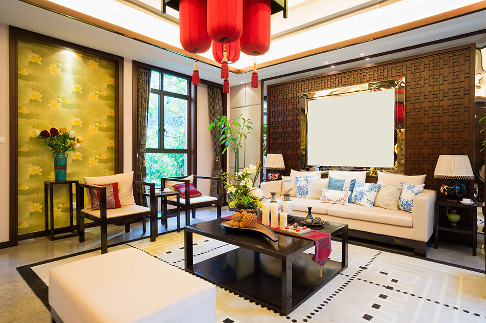 A typical Asian style living room.