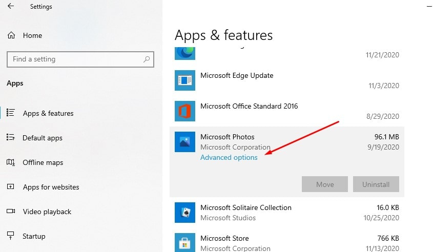Additional options for Microsoft photos