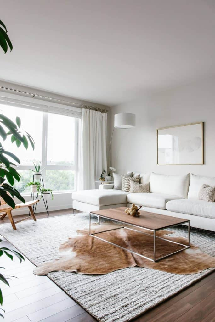 All white modern minimalist living spaces (according to downshiftology.com)