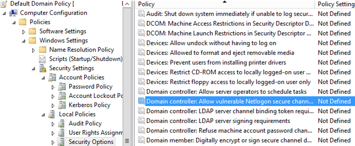 Allow vulnerable connections from netlogon via secure channel