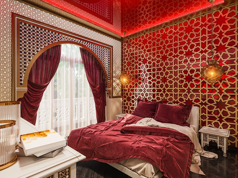Bed linen in Moroccan style with matching curtains