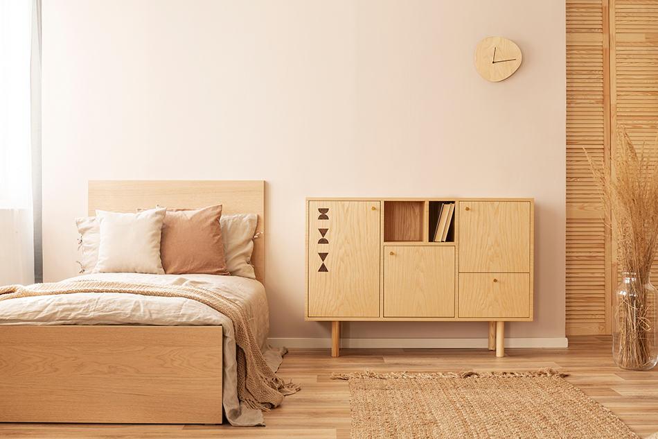 Bedroom in beige monochrome