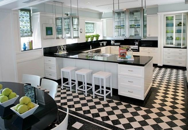 Black and white granite kitchen with control panel floor