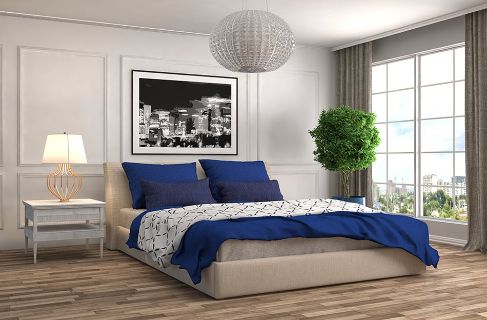 Blue and grey room