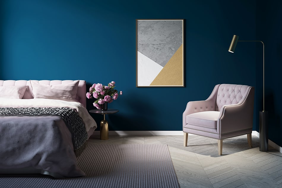 Blue and pink rooms