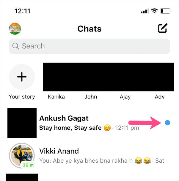 blue dot in Facebook Messenger messages