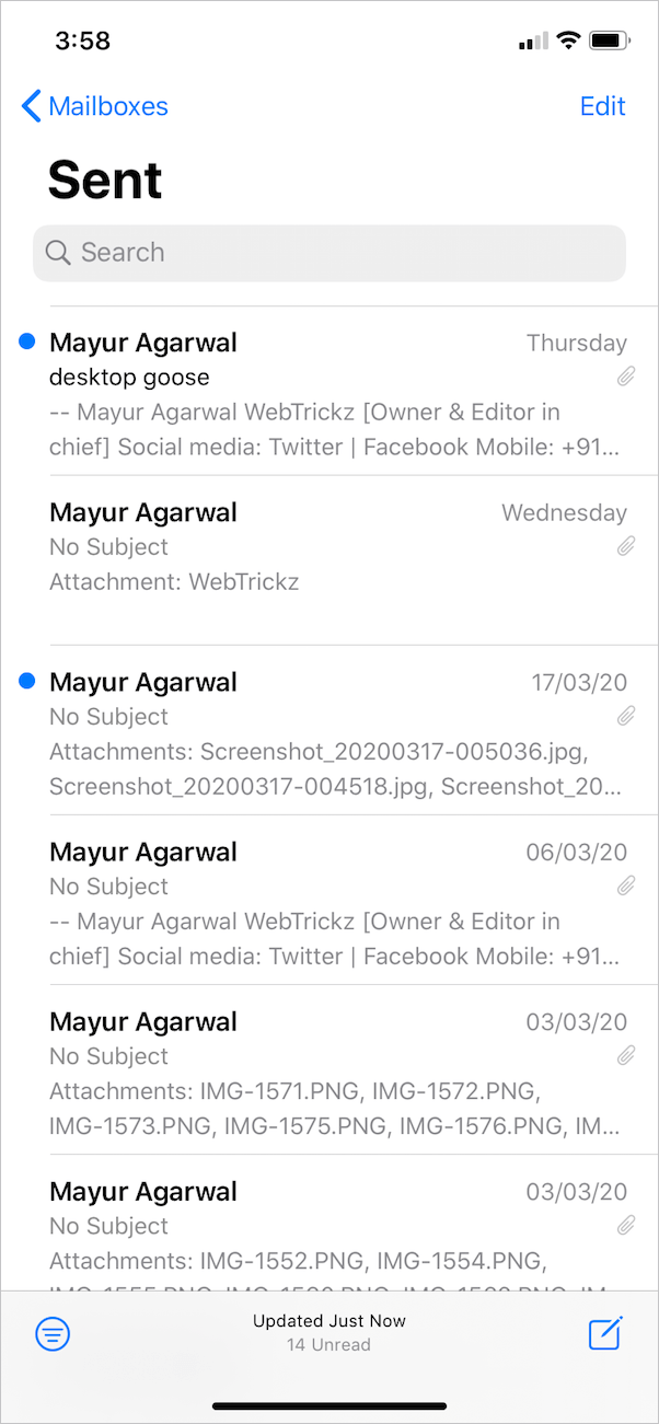 blue dot next to the email sent on the iphone