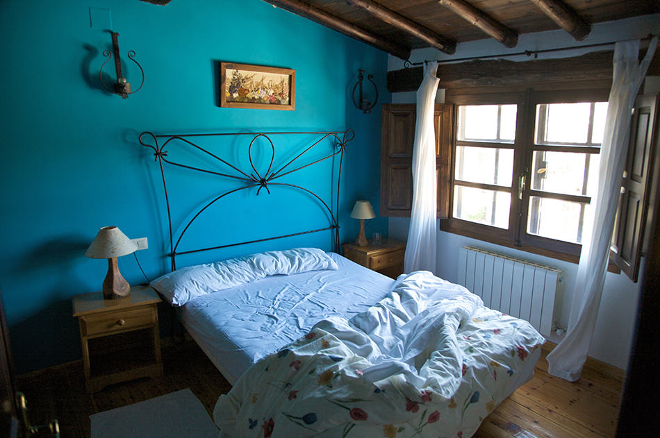 Blue in a rustic room