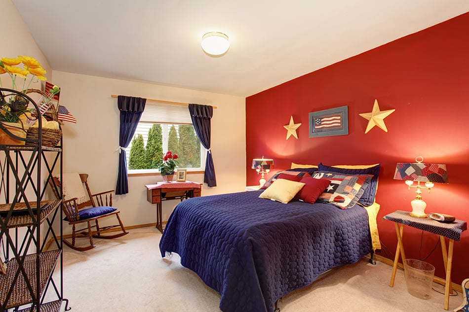 Blue, red and yellow room