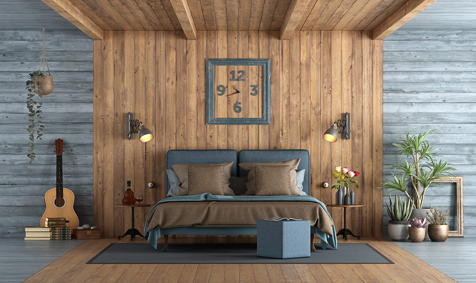 Brown and blue room
