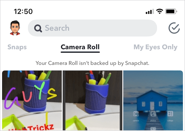 Camera in the Snapchat application