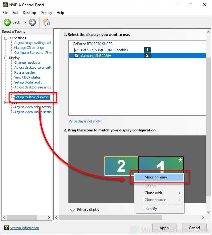 Changing the Windows 10 main monitor in the NVIDIA control panel