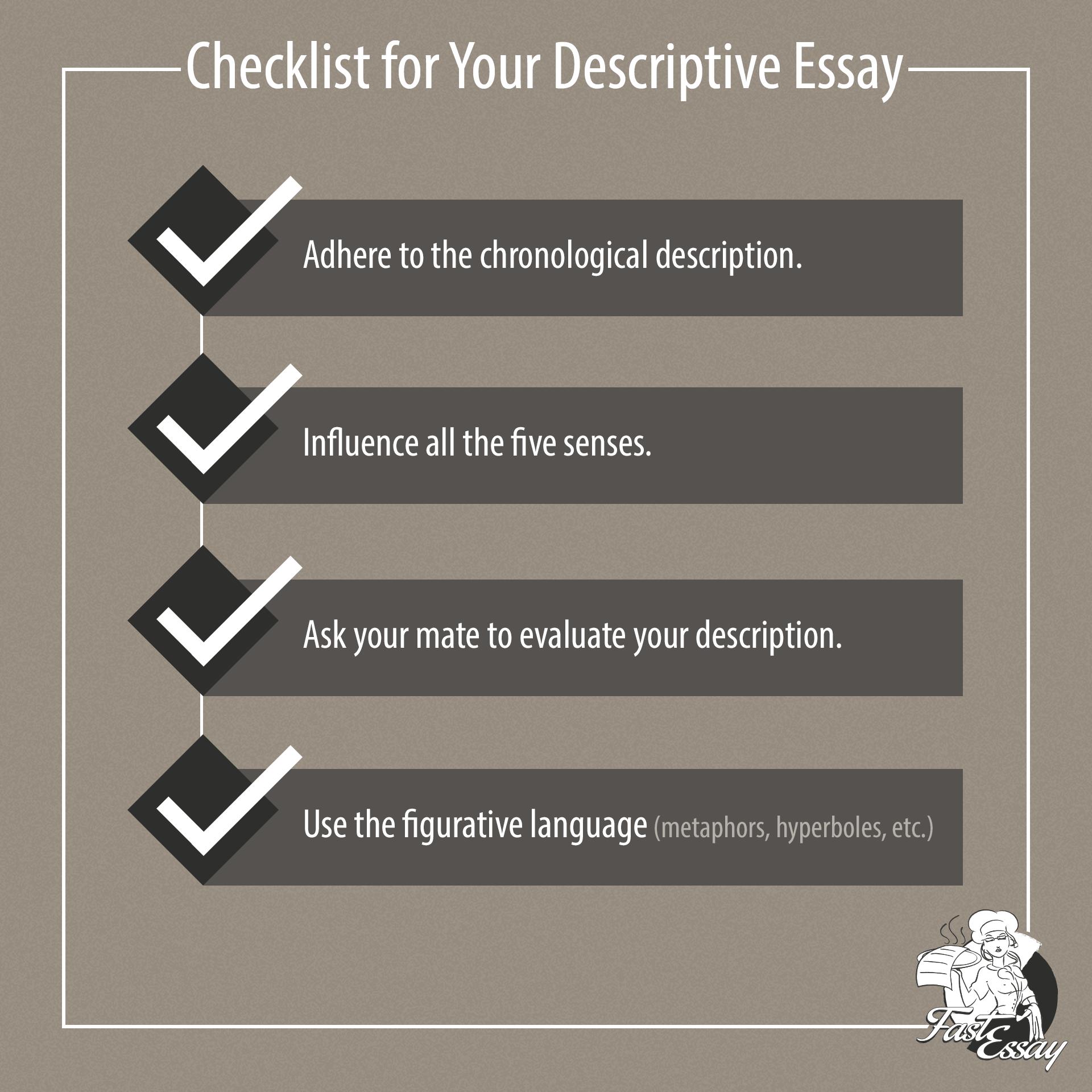 Checklist for a descriptive test