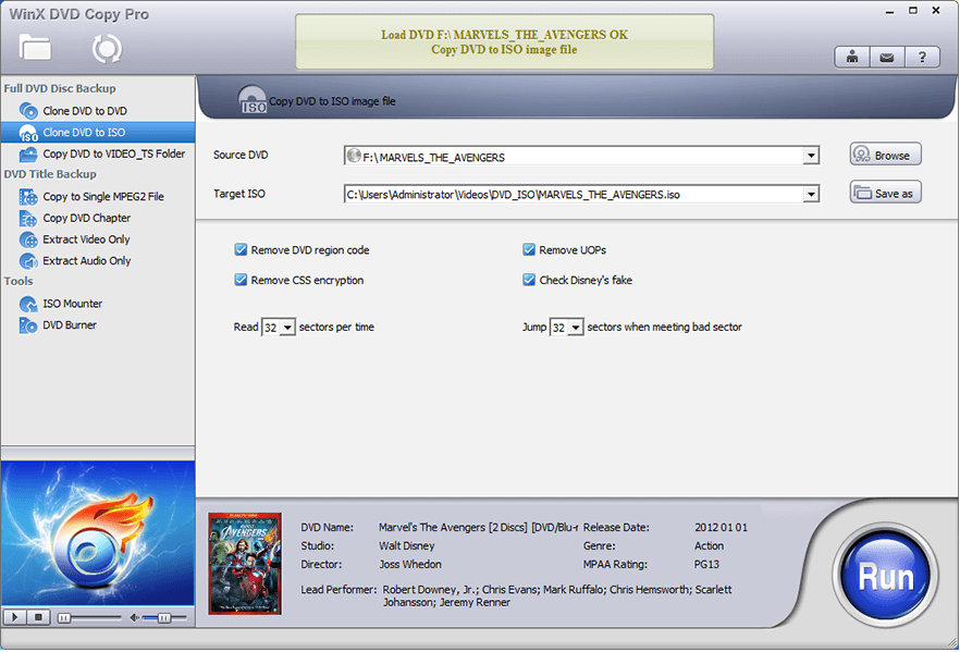 Clone the DVD to ISO