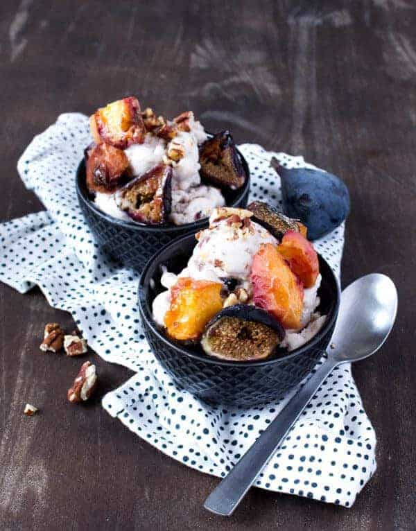Coconut ice cream with roasted peach, rice and pecans