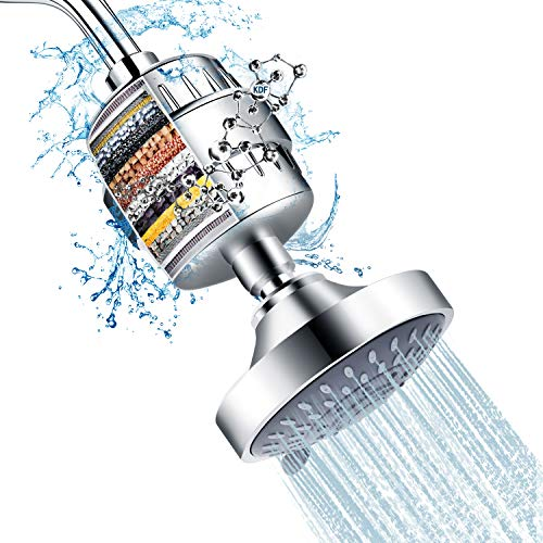 Combination of shower head and 15-stage shower filter, FEELSO filtered high-pressure shower head with 5 spray levels and water softener filter cartridge for removing chlorine and impurities from hard water.