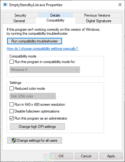 Configured to run permanently in the Windows 10 cache, with the cache emptied by the administrator.