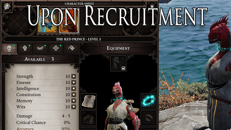 Customizable display in character creation mode