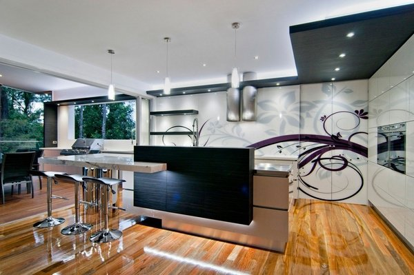 Designer kitchen with beautiful oak floors