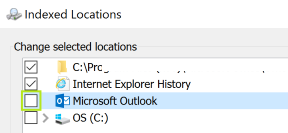 Disable indexing for Microsoft Outlook