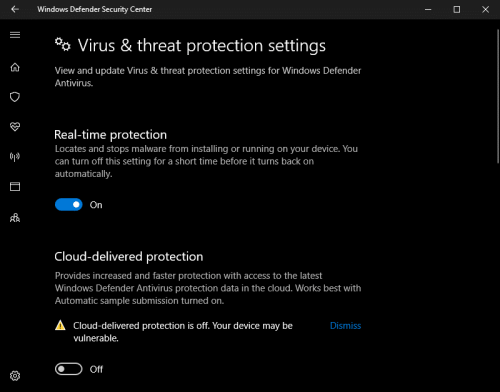 Disable real-time virus protection on Windows 10.