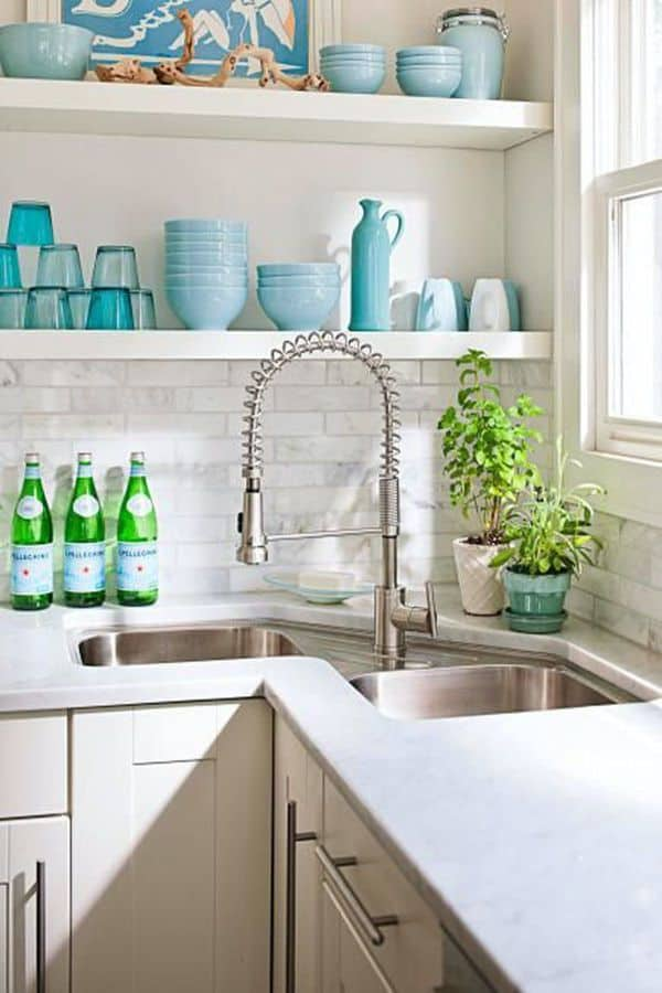 double sink with modern tap
