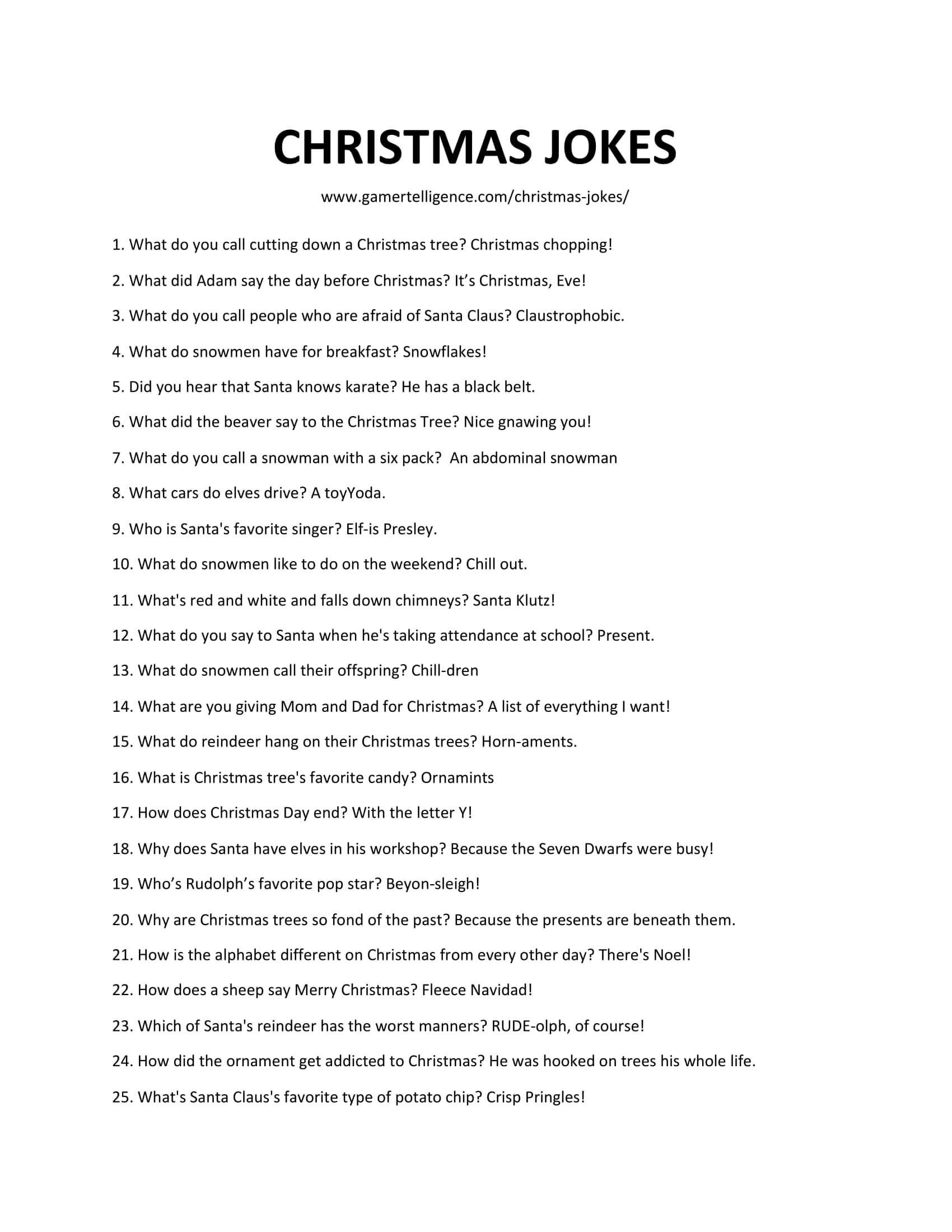 Downloadable and printable list of Christmas jokes in jpg or pdf format