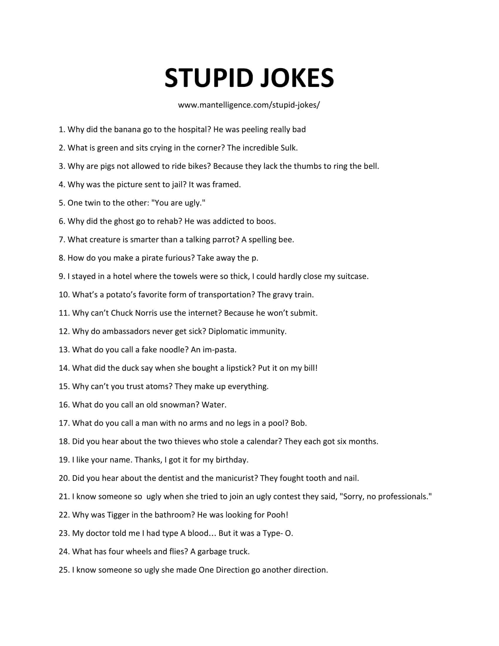 Downloadable and printable list of stupid jokes in pdf or jpg format